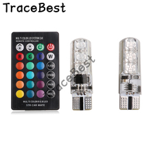 2PCS T10 W5W LED Car Lights LED Bulbs RGB With Remote Control 194 168 501 Strobe Led Lamp Reading Lights White Red Amber Blue