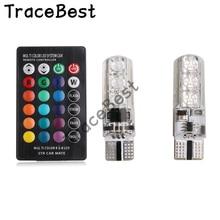 2PCS T10 W5W LED רכב אורות LED נורות RGB עם שלט רחוק 194 168 501 Strobe Led מנורת קריאה אורות לבן אדום ענבר כחול