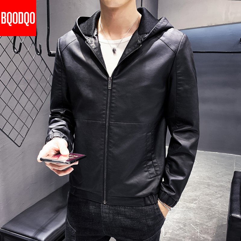 Winter Black Leather Jacket Men PLUS SIZE Vintage Mens Hooded Coats Slim Fit Autumn Motorcycle Biker Design Causal PU Jackets XL