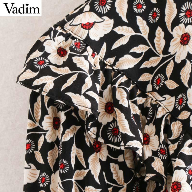 Image 3 - Vadim women chic floral pattern mini dress ruffles long bell sleeve straight female causal fashion dresses vestidos QD081Dresses   -