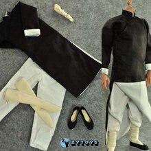 В наличии 1/6 масштаб zy15 14 мужская одежда черный с длинным