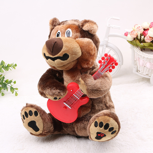 Singing Russian songs toys bear electronic pets playing guitar bear children's early childhood educational toys will sing