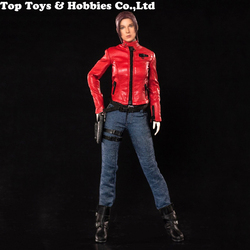 In stock  Cool 1/6 Scale Girl Leather Red locomotive battle suit Set X-021Clothes Set Fit 12'' TBLeague seamless body Figure