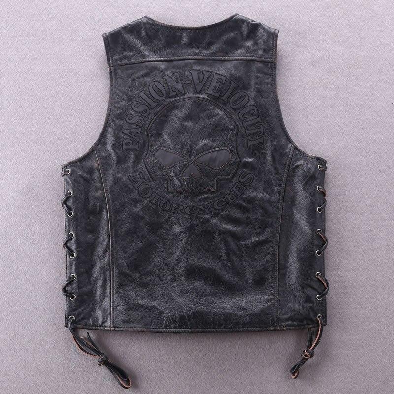 Fashion Genuine Men Slim Fit Solid Cowskin Leather Jacket Motorcycle Biker Vest V-neck Collar Short Coat