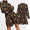Klkxmyt Za Dress Women 2020 Chic Fashion Floral Print Mini Dress Vintage Long Sleeve Elastic Waist Female Dresses Vestidos Mujer 1