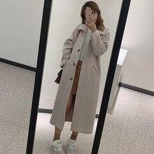 Осенне-зимняя новая Стильная приталенная шерстяная куртка в Корейском стиле повседневное шерстяное пальто средней длины для студентов