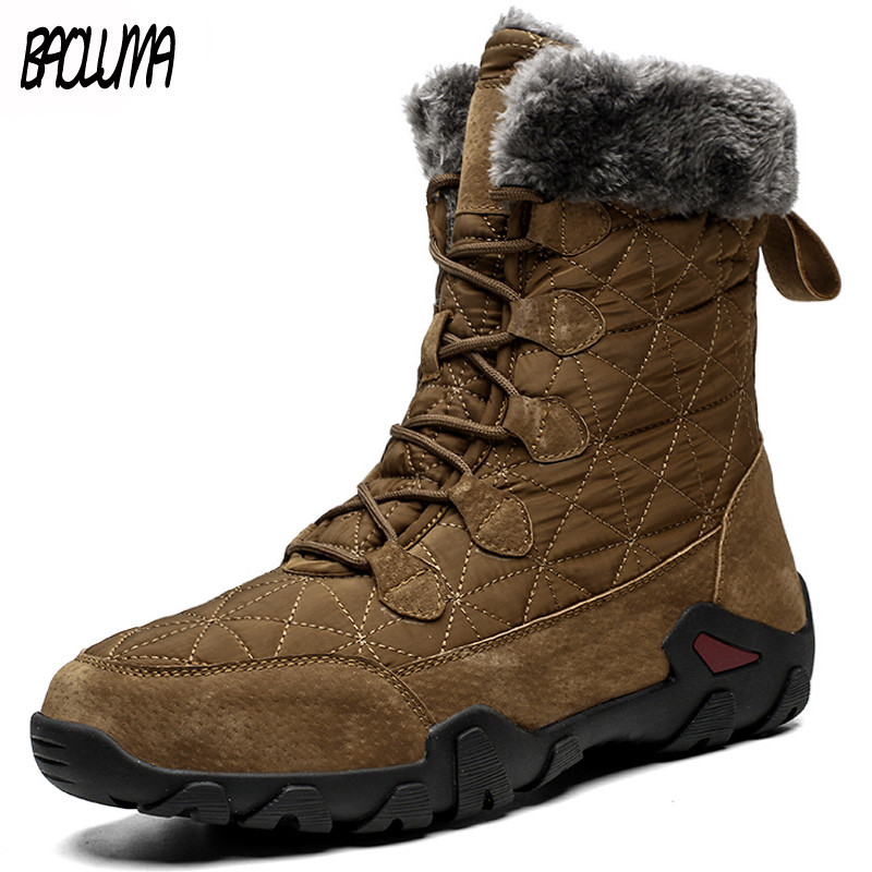 Brand New Men Winter Boots Thick Plush Warm High Help Men Snow Boots Waterproof Male Ankle Boots Fur Work Shoes Big Size 38-48