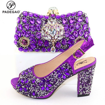 2020 Sexy African Women Matching Shoes and Bag Set In Heels Matching Shoes and Bag Set for Italian Party in Purple Color