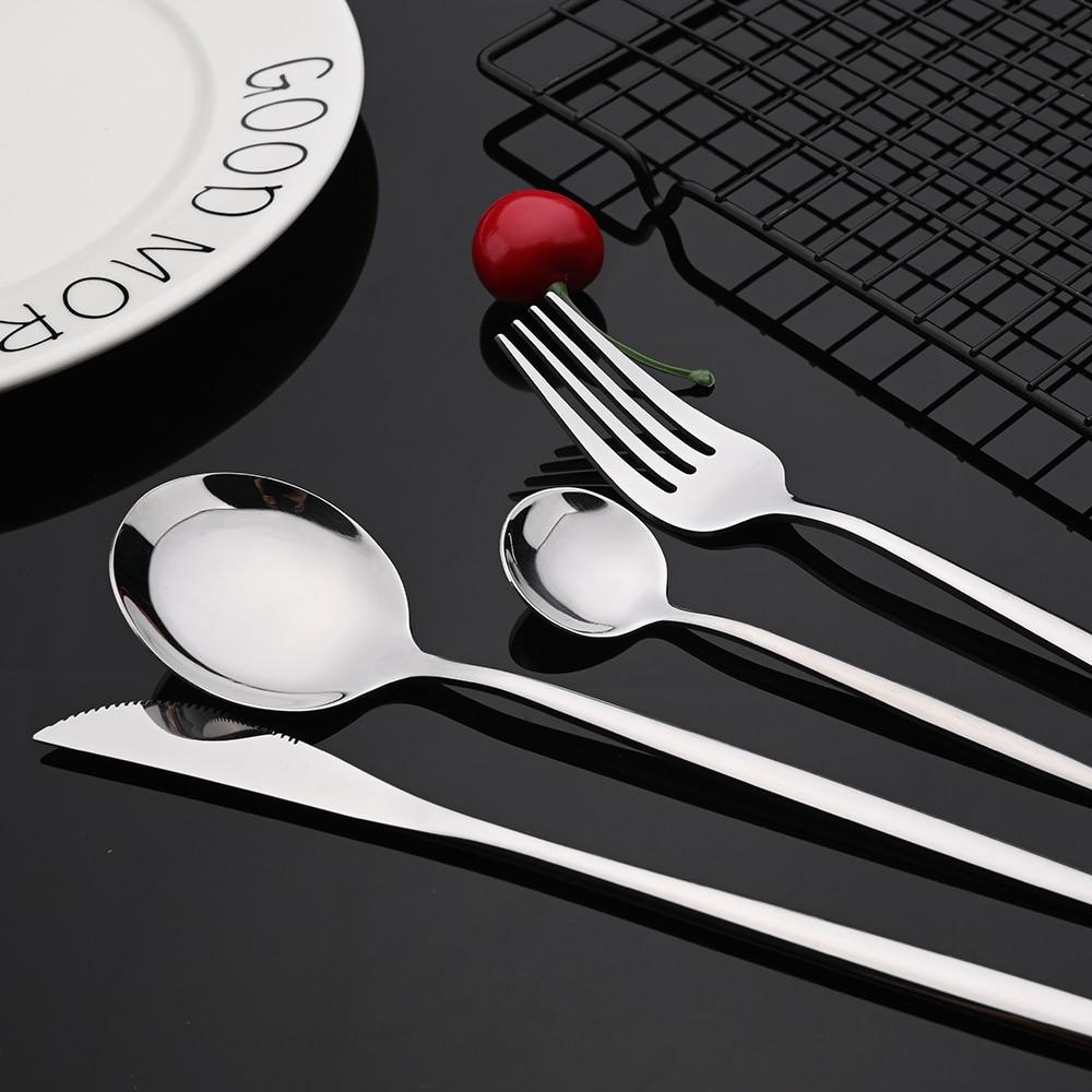 24Pcs New Green Gold Cutlery Set Mirror Dinnenrware Set Stainless Steel Flatware Dinner Knife Fork Spoon Teaspoon For Home