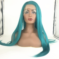 Wholesale Cheap Natural long straight Blue Synthetic Hair Lace Front Wig Cosplay Hair Synthetic Wig