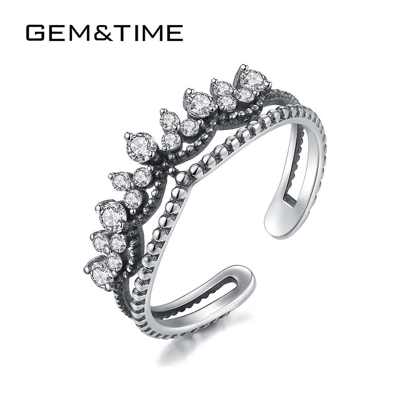 Gem&Time Korean Cubic Zirconia Crown Rings Sterling 925 Silver Adjustable Rings For Women Jewelry Joyas De Plata 925 SR0228