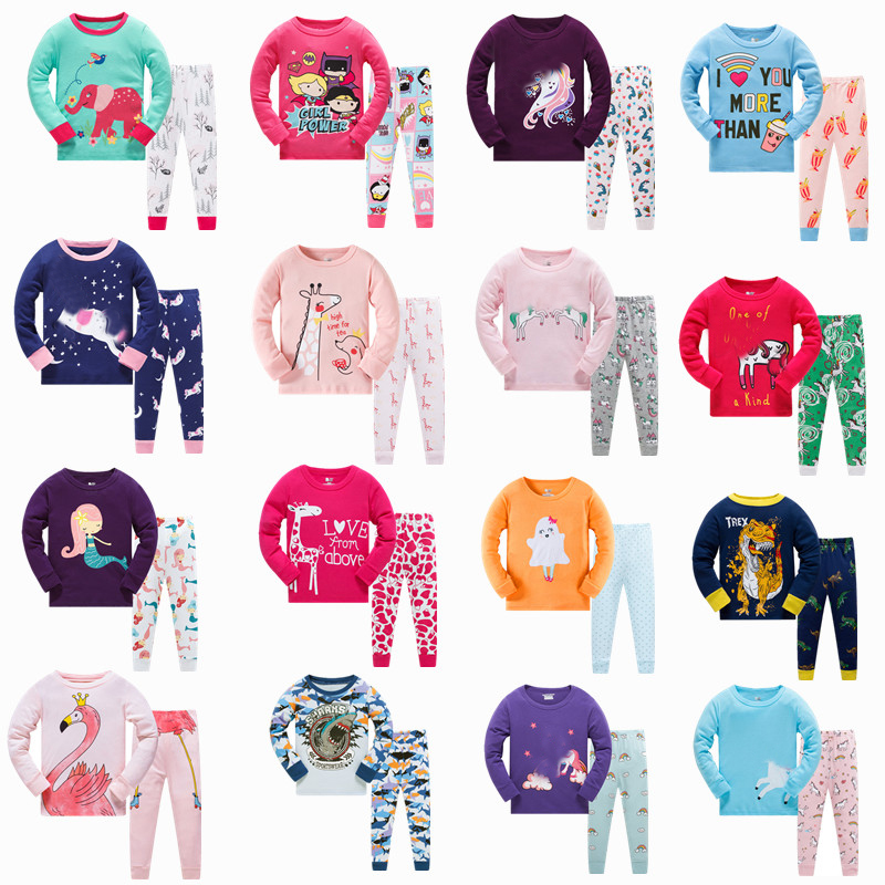 Girls Home Sleepwear Baby Kids Cotton Pajamas Set Children Cartoon Long Sleeve Pyjamas Clothing Sets Boys Casual Pijamas Set