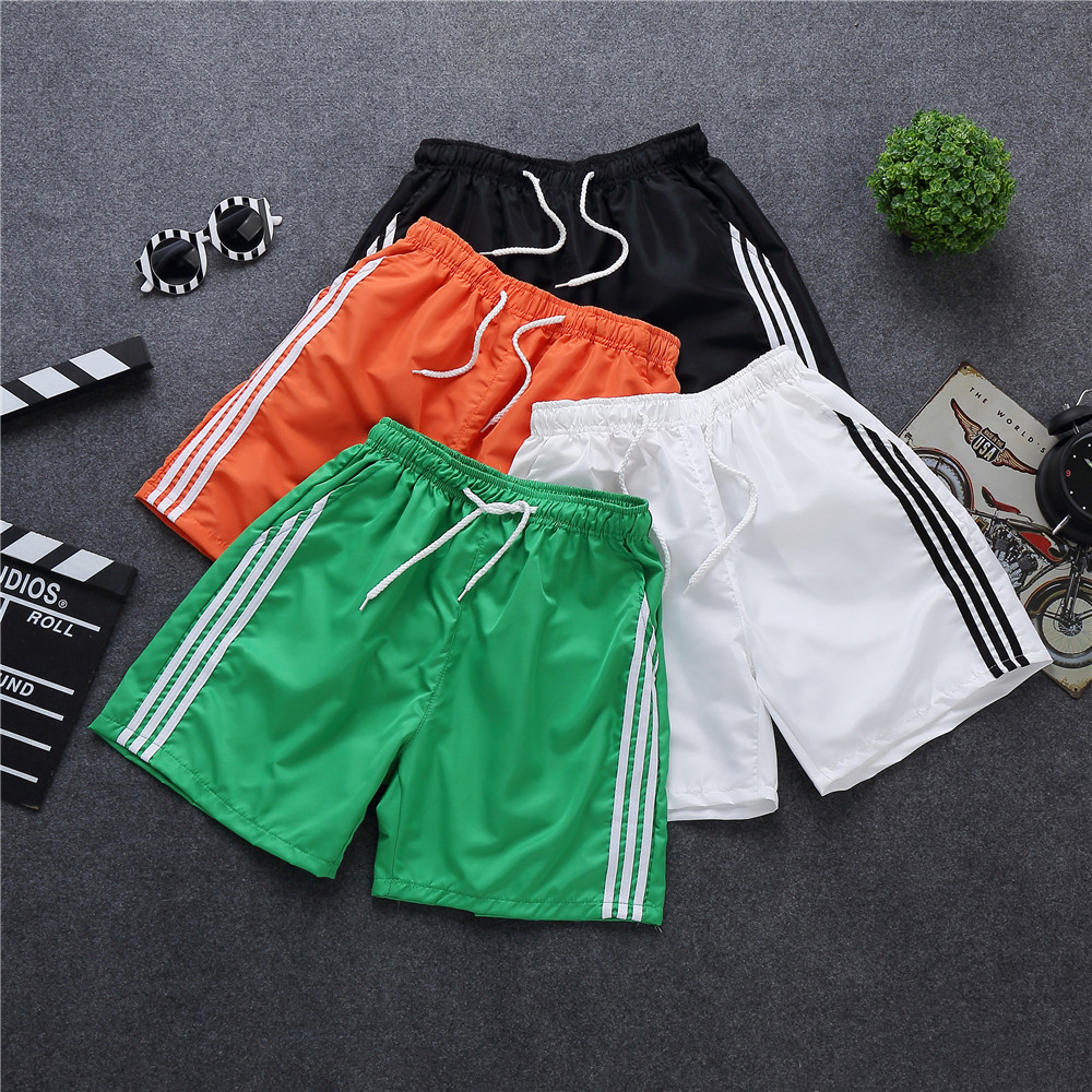 Summer Cool Shorts Men Three Bars Stickers Black And White Orange Green Pants With Pocket 3 Points Beach Shorts Fashion