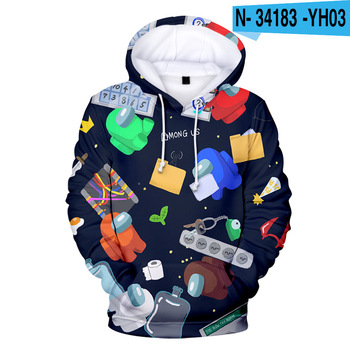 New Autumn Winter Tops Funny Print Among Us Hoodie Cartoon 3D Printed Pullover Sweatshirt Adult Harajuku Anime Pullover 27