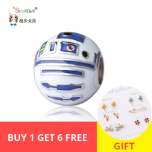 StrollGirl New 100%925 silver bead robot charm with colorful enamel, suitable for Pandora bracelet DIY jewelry, mens gift