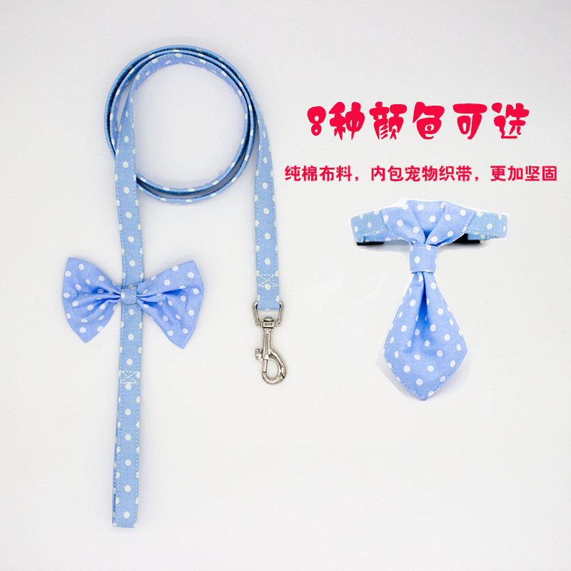 Pure Cotton Bow Tie Pet Traction Rope With Set Small Dogs Puppy Dog Cat Necklace Neck Ring
