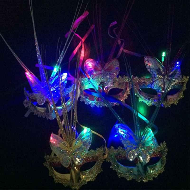Женская маска на Хэллоуин с перьями, светодиодный, светящаяся Маскарадная маска, девичник, нарядное платье, принцесса, Бальные маски, Карнавальная маска