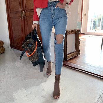 JUJULAND New Blue Jeans Pancil Pants Women High Waist Slim Hole Ripped Denim Jeans Casual Stretch Trousers Jeans 7375 europe new fashion women trousers slim blue jeans woman ripped hole jeans with high waist female pencil pants large size s 2xl