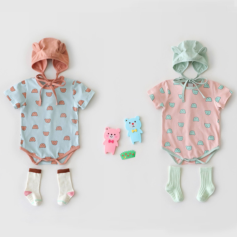 MILANCEL Baby Clothes Cartoon Baby Boys Bodysuits Little Bear Print Infant Girls Clothes With Hat