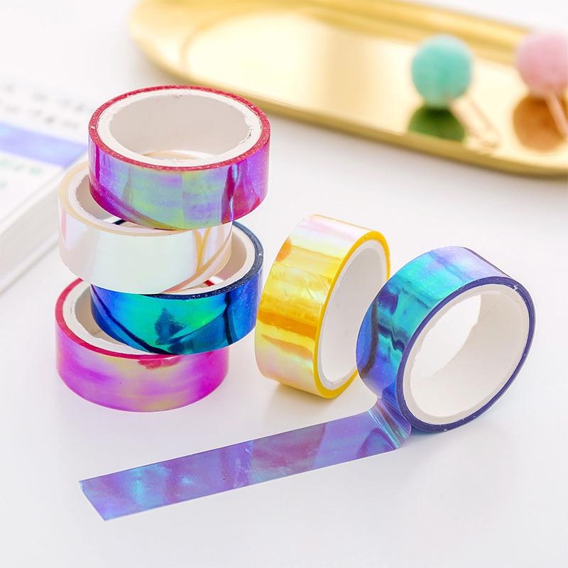 6 Pcs/set Colors Rainbow Laser Washi Tape Glitter Scrapbooking Decorative Adhesive Tapes DIY Masking Tape School Stationery