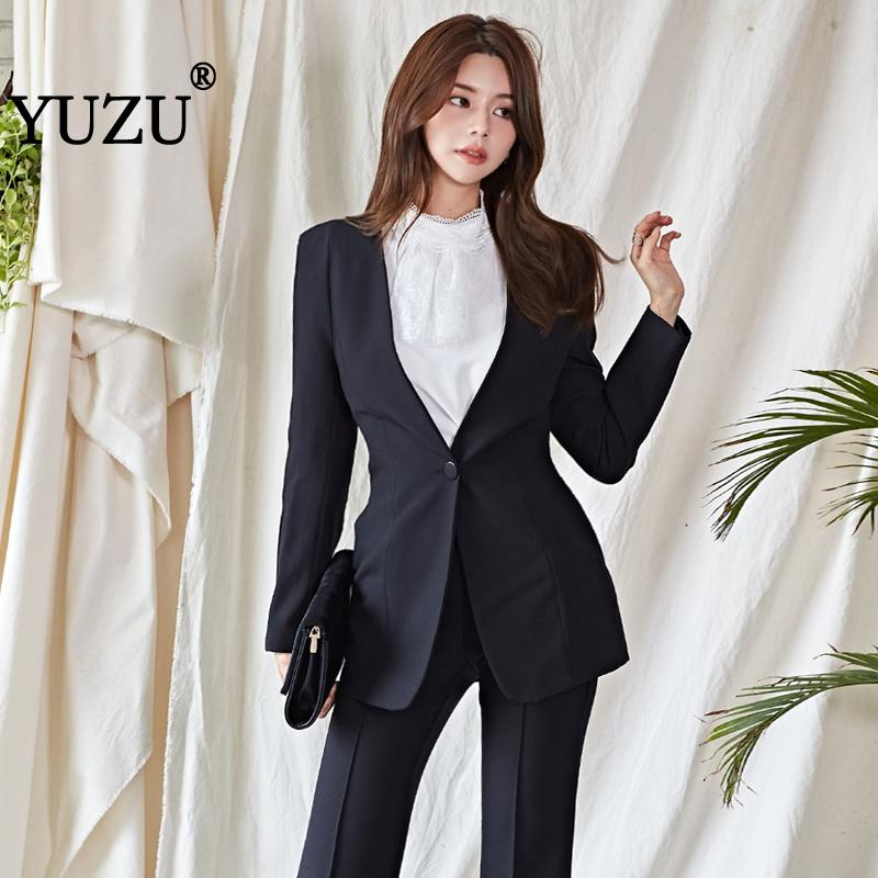 Pantsuit Women Formal Blazer Black Two Piece Set Autumn Winter Elegant Flares Pants Woman Suits Lady Suit Office Business Suits