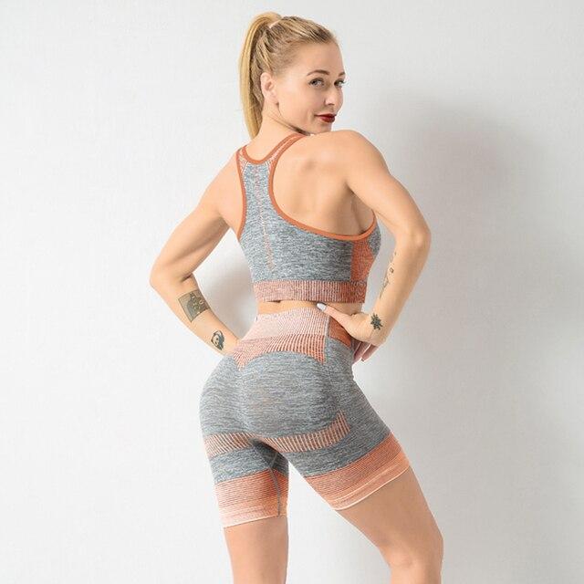 Фото бесшовный комплект для йоги женская одежда тренировок в тренажерном