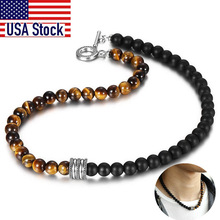 Natural Red Tiger Eyes Map Stone Necklace For Men Unisex Stainless Steel Matte Black Bead Necklace Male Jewelry Gift TNB001A