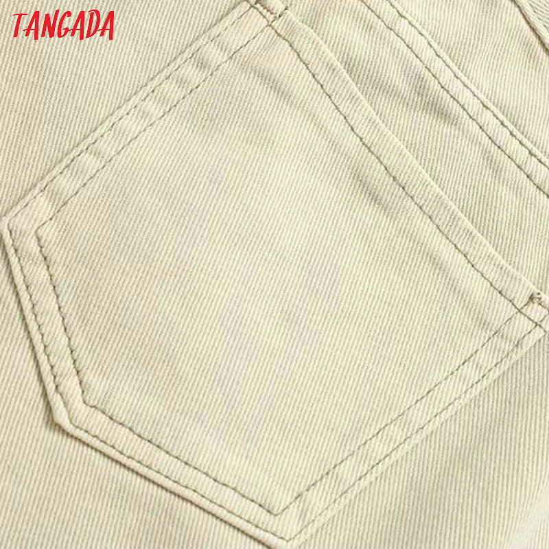 Tangada fashion women loose mom jeans long trousers pockets zipper loose streetwear female pants 4M58 34