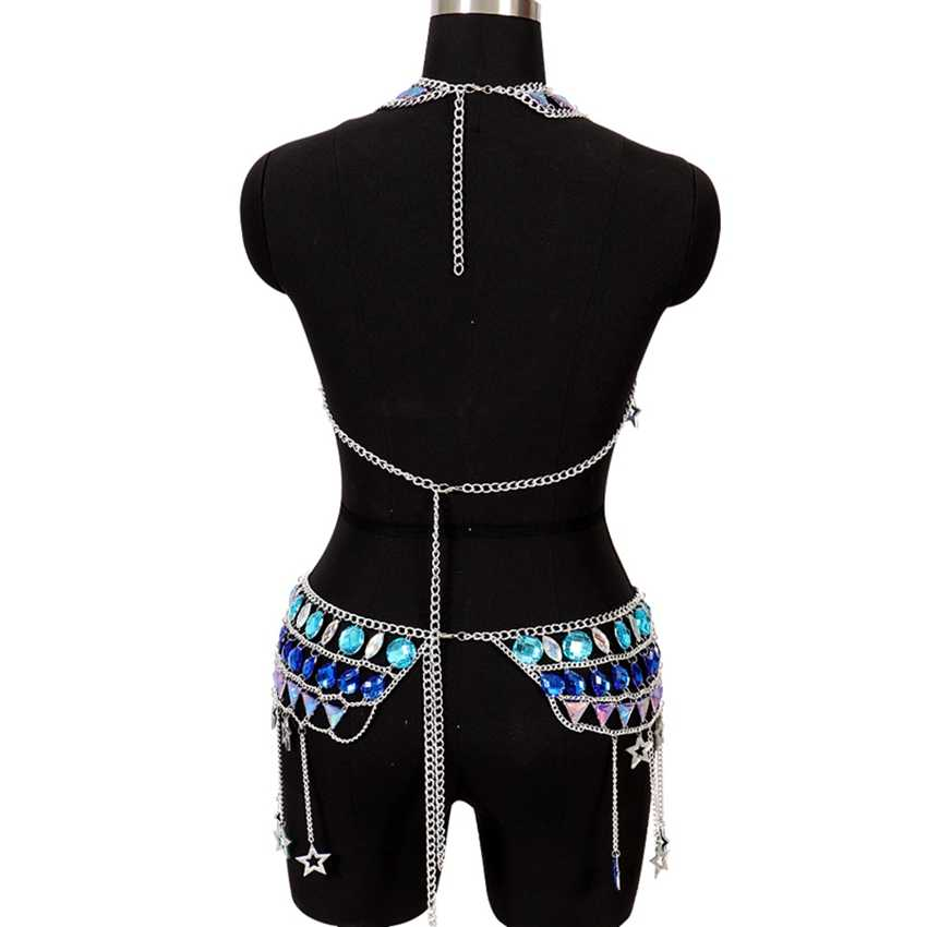 Metal Chain Crystal Sexy Hollow Out Bra Harness Dress Set Multi-layer Tassel Chain Women Choker Necklace Bikini Beach Goth Rave
