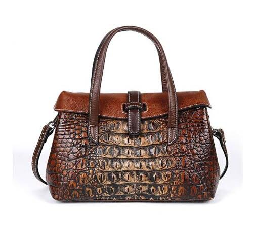 Women Genuine Leather Bag 2020 New Fashion Handbag Vintage Crocodile Shoulder Bag