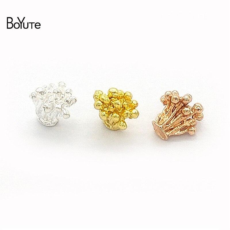 BoYuTe 100Pcs 6.5*6.8MM Metal Alloy Flower Stamen Pistil Materials Diy Hand Made Jewelry Accessories Parts