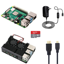Raspberry Pi 4 Model B 1G/2G/4G Kit with Aluminum Case 5V 3A Power Adapter with Switch HMDI Cable 32G SD Card Optional