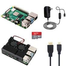 Raspberry pi 4 modelo b 1g/2g/4g kit com caixa de alumínio 5v 3a adaptador de alimentação com cabo hmdi 32g, cartão sd opcional