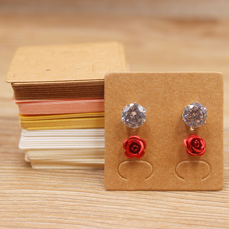 100PcsDIY Colorful  Paper Earring Tags Kraft/pink/ivory Ear Studs Earrings  Jewelry Package Tag Card Two Pirs Stud Earring Tag