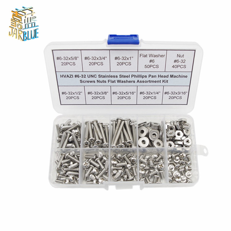 HVAZI #2-56 to 5//16-18 UNC Stainless Steel Hex Socket Head Cap Screws Assortment Kit