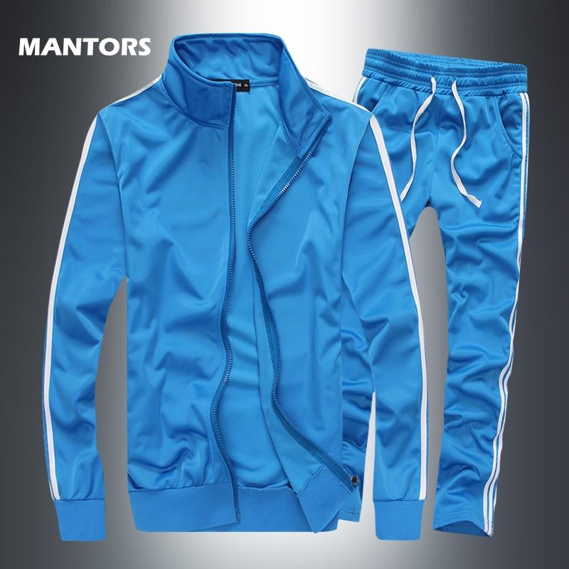 2019 New Striped Tracksuit Men's Solid Sets Casual Sports Suit Spring Autumn Men Sportswear Zipper Hoodie+Pants Training Suit