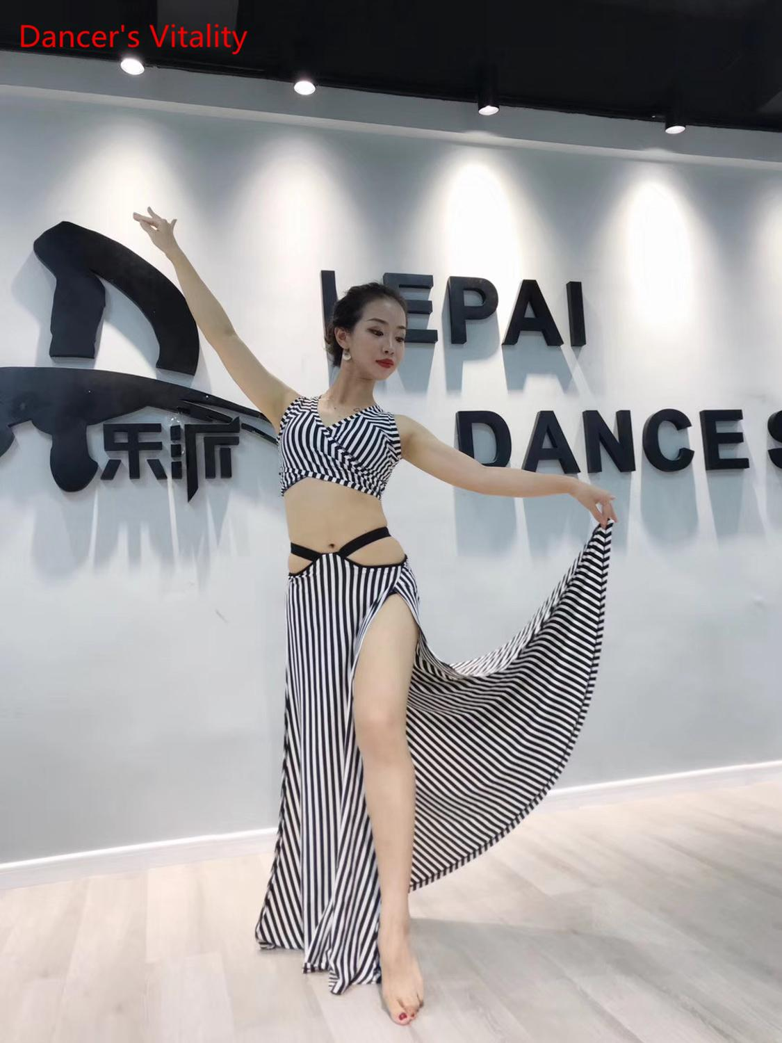 Adult Beginner's Belly Dance Practice Clothes Oriental Dance Up Down Set Sexy Long Dress Suit Black And White Stripes Costume