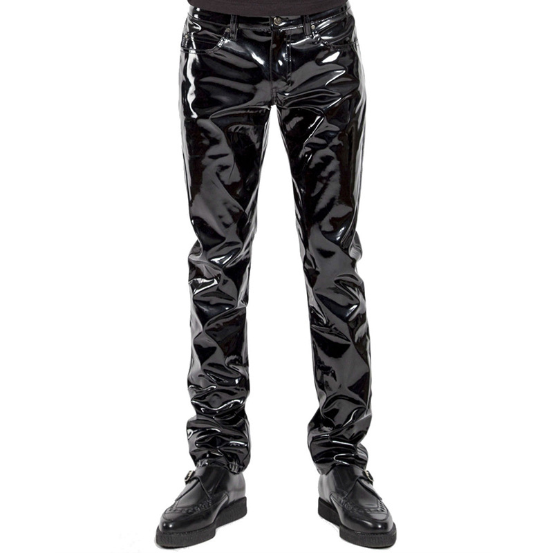 Men's Zip Trousers Glossy Clubwear Sexy Patent Leather Pants Skinny Performance Pants Black