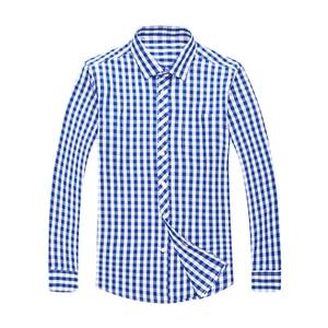 Image 5 - Blue White Plaid Mens Classic Casual Shirt High Quality 100% Cotton Male Social Long Sleeve Slim Fit Shirt 4XL