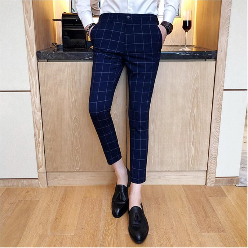 2019 New Mens Slim Fit Business Dress Pants For Men Suit Pants Ankle Length Men Summer Formal Suit Trousers Plus Size S-4XL