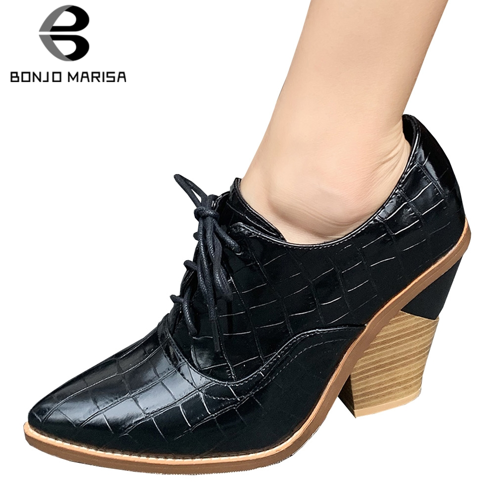 BONJOMARISA New Arrival 33-44 Brand Design Pointed Toe Pumps Women 2019 OL lace-up Fretwork High Heels Shoes Woman