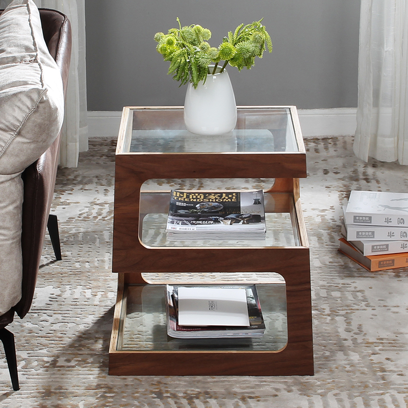 Hela Living Room Furniture Sofa Side Table Coffee Table Walnut Stalinite Bedside Tables Night Tables