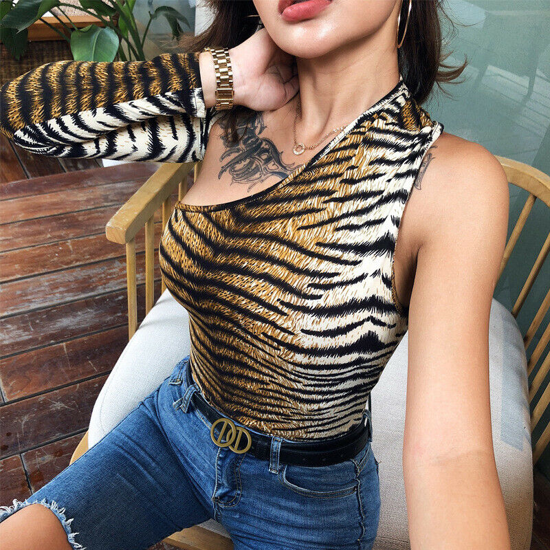 Women One Shoulder  Leopard print Jumpsuit Bodycon Bodysuit Top Romper Long Sleeve Blouse