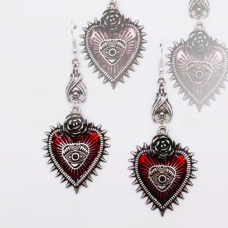 Винтаж Лолита готический сглаза красное сердце серьги для женщин Хэллоуин косплей