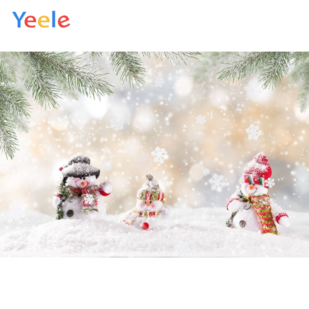 Yeele Christmas Backdrop Winter Snow Tree Snowman Newborn Baby Photography Background For Photo Studio Photobooth Photophone in Background from Consumer Electronics