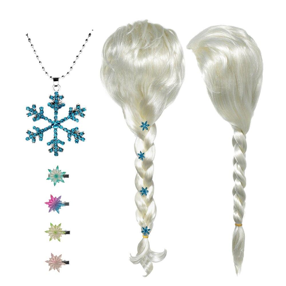 Novo anna elsa 2 peruca princesa faixas de cabelo meninas festa fantasia acessórios princesa trança headwear natal grampos de cabelo crianças jóias|Acessórios para cabelo|   -