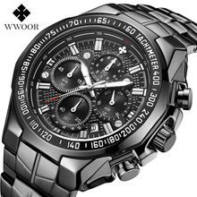 Relógio WWOOR Watch Men Top Brand Luxury Sports Quartz Black Chronogra