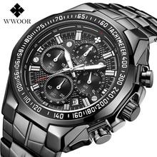 Relógio WWOOR Watch Men Top Brand Luxury Sports Quartz Blac