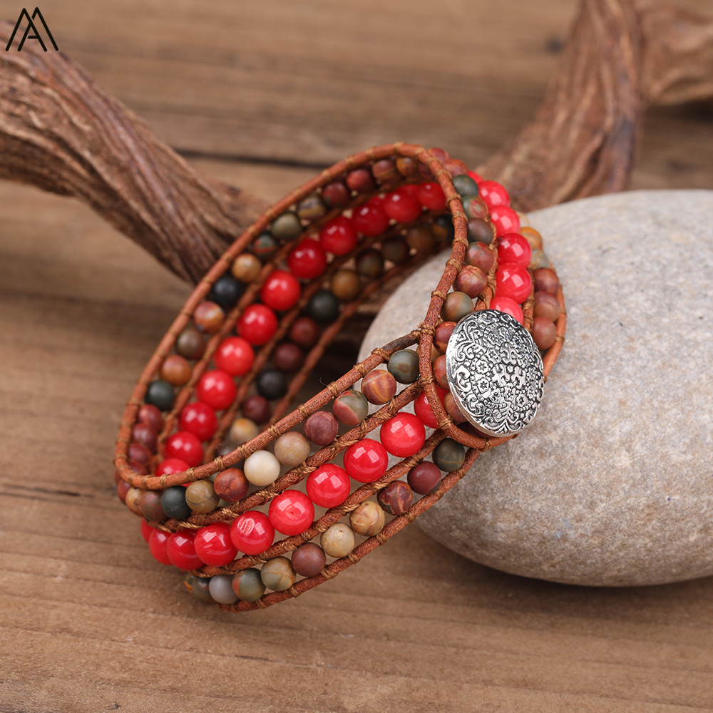 Sterling Silver 6mm Red Coral Beads with Red Leather Single-Wrap Bracelet