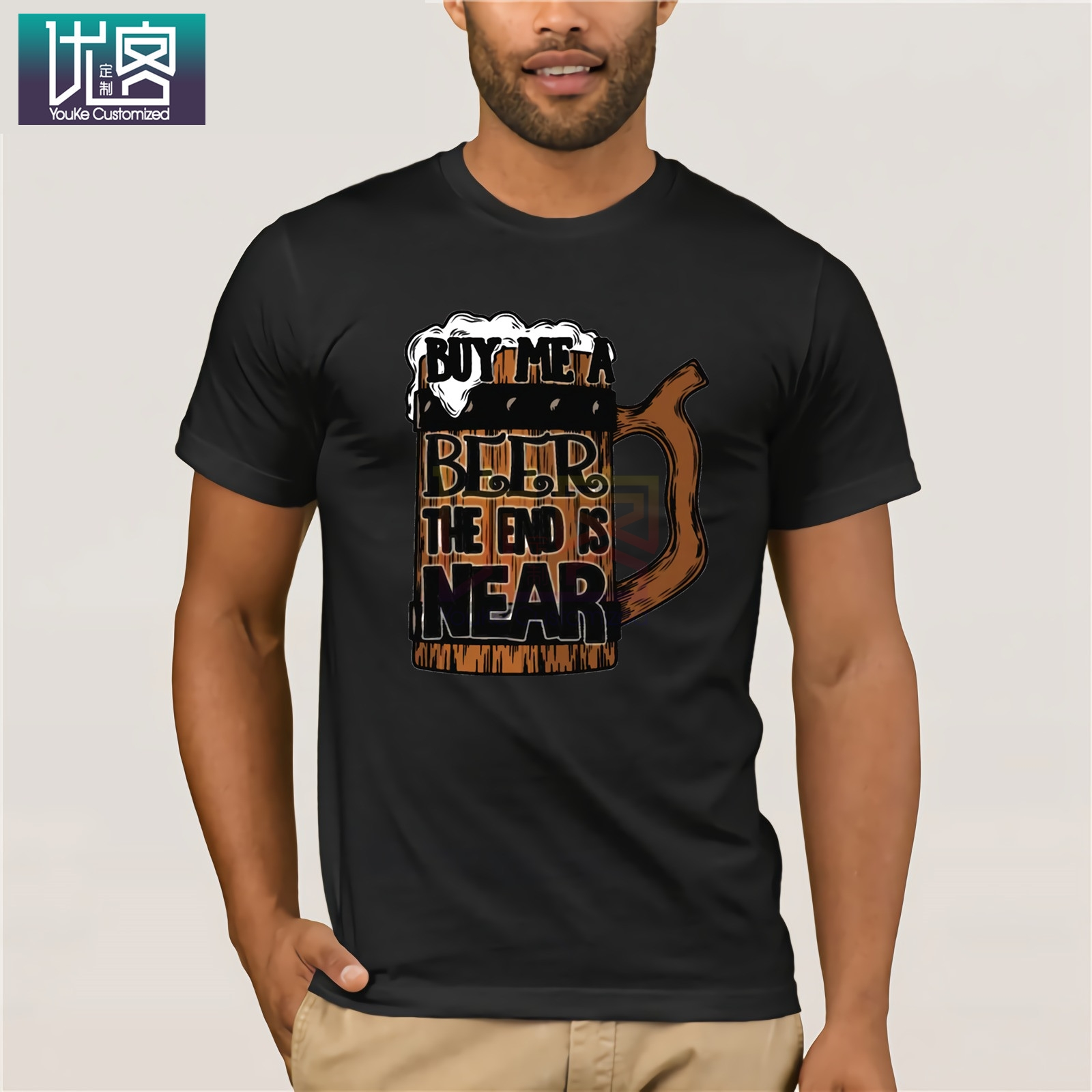Buy Me A Beer The End Is Near T-Shirt Men's Casual T Shirts Masks Words Hip Hop Tops Tee Funny Print Tshirt Men Hip Hop